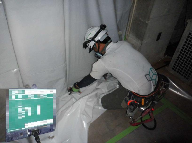 京都府にて煙突の断熱材アスベスト対策工事